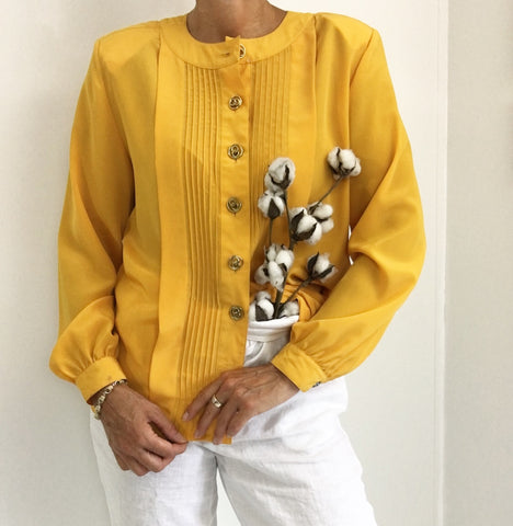 Vintage Charming Pleated Mustard Casual Blouse