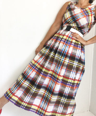 Vintage 1960's Toni Todd Checked Cotton Sleeveless Maxi Dress