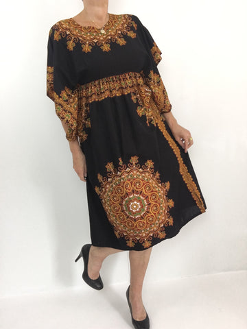 Vintage 70s Dashiki Caftan Dress W/ Mandala Print