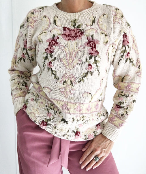 Vintage Needlepoint Style Comfy Sweater