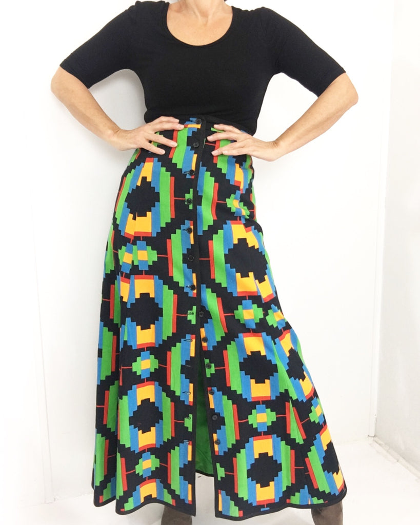 Vintage 70s High Waisted Psychedelic Maci Dkirt