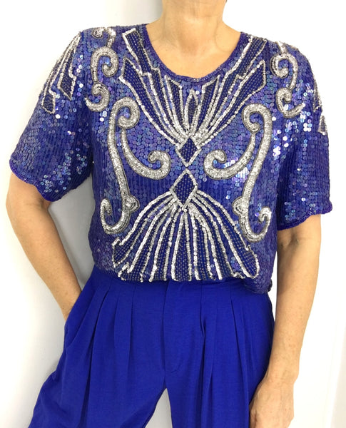 Vintage Sequined Ocean Blue Silver Silk Top Blouse