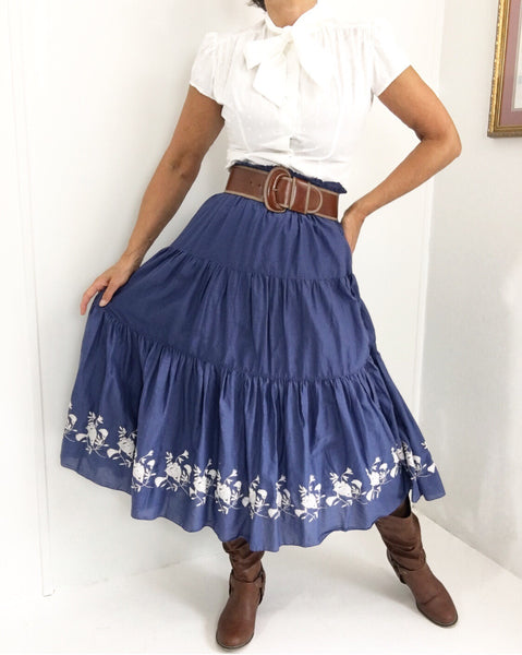 Vintage Western Skirt W/Embroidery