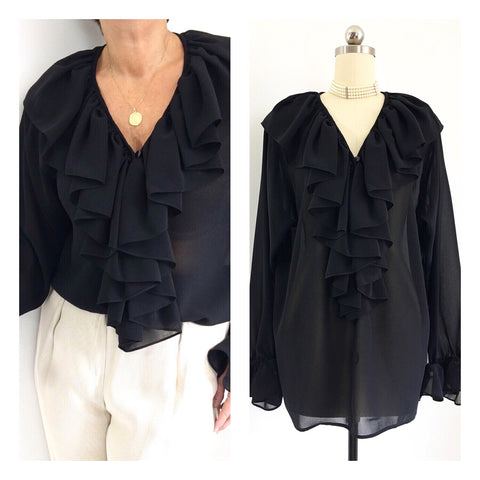 Vintage Black Ruffled Blouse W/ Ruffled Cuffs