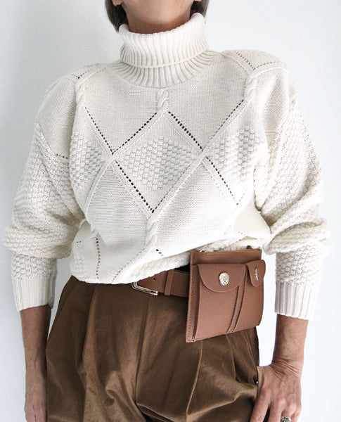 Vintage 80s Off White Crochet Style Turtleneck Sweater
