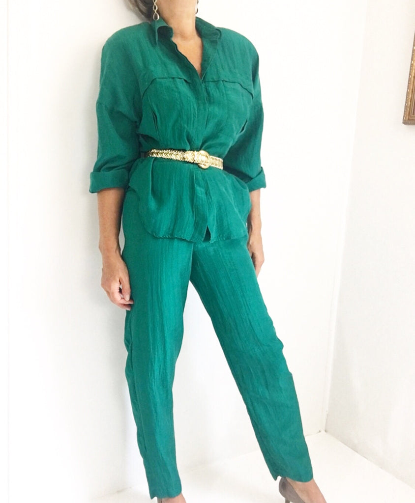 Vintage Emerald Green Silk Pants Blouse Ensemble
