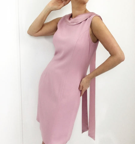 Vintage Pink Shift Dress with Satin Trim And Sash
