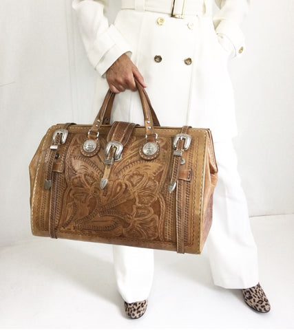 Luxurious Early 70s Western Handmade Leather Weekender