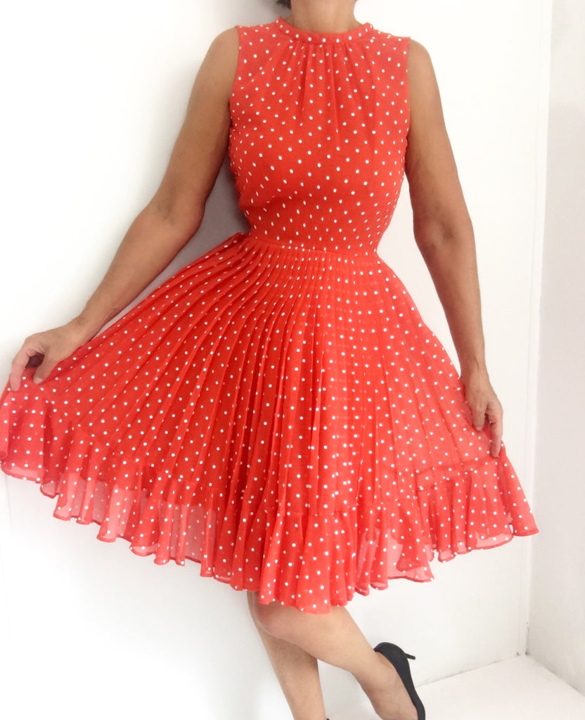 Vintage 60s I.Magnin Polka Dot High Neck Pleated Dress