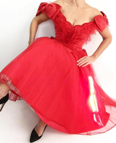 Vintage 1950's Mike Benet Lipstick Red Tulle Bow Satin Gown