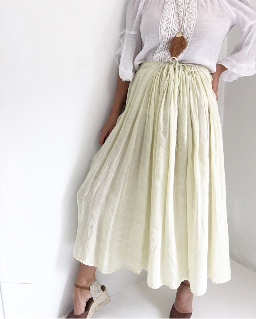 Vintage Vanilla Dream 100% Linen Market Skirt