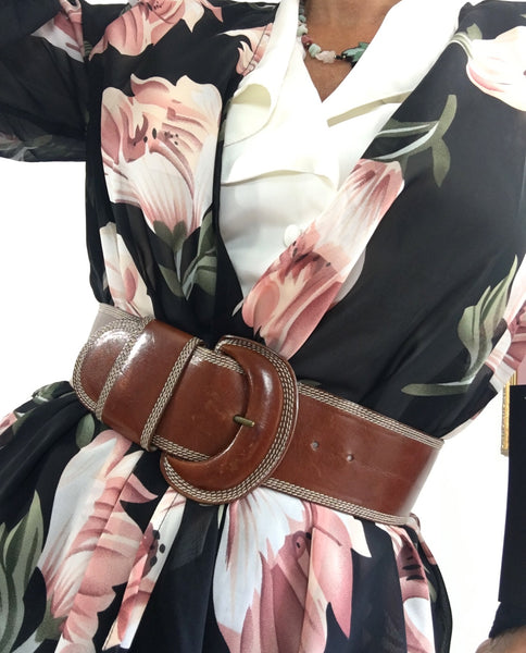 Vintage Mousse Au Chocolat Donna Karan Leather Belt - Made in Italy