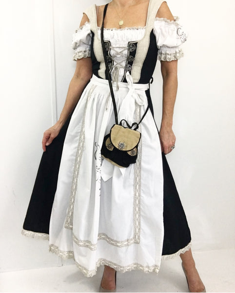 Vintage Original German Dirndl 100% Linen Countryline Maxi Dress W/Apron