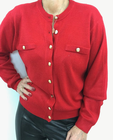 Vintage Super Soft Lipstick Red Cardigan W/Gold Toned Buttons