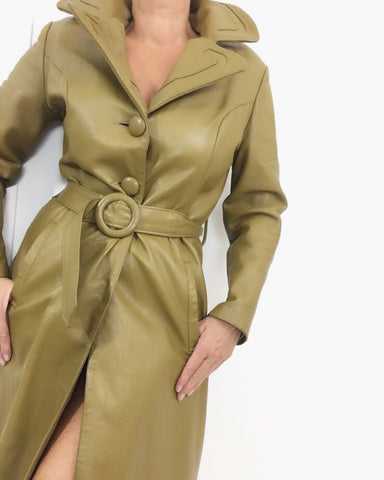 Vintage Late 60s Butterscotch Leather Trench