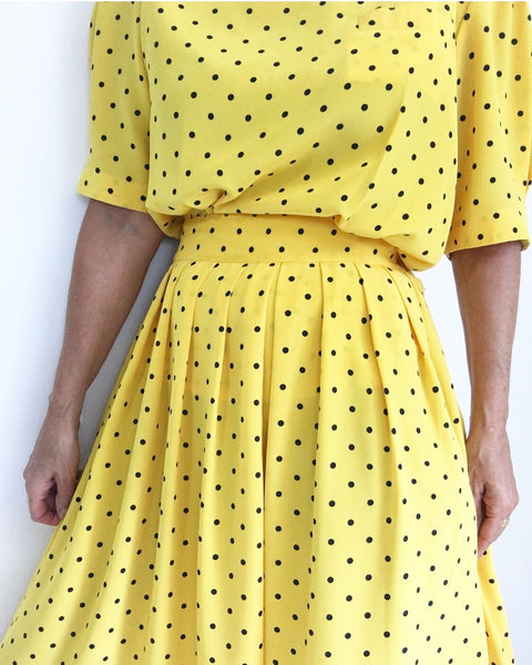 Vintage Yellow Polka Dot Pleated Skirt Ensemble