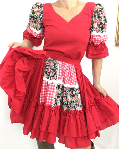Vintage 70s Western Square Dance Skirt Blouse Set