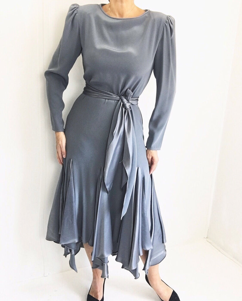 Vintage 1970s 'The Gilberts' for Tally Satin Hankie Hemline Dress - Dead Stock