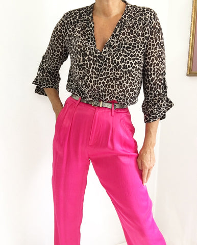 Vintage 80s Inspired High Waisted Pants Hot Pink