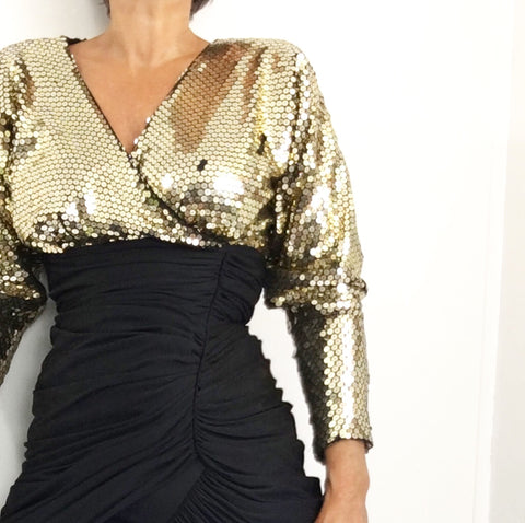 Vintage Tadashi Mermaid Dress Black Gold Sequins W/Ruched Front