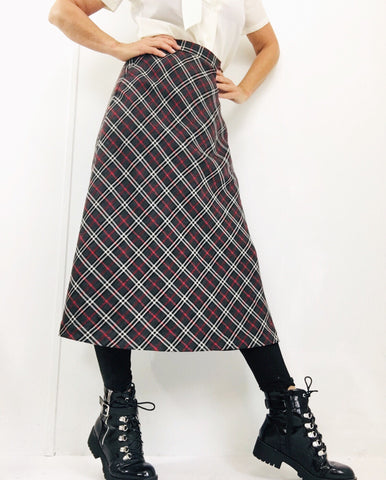 Vintage Plaid Tartan Maxi Wool Skirt