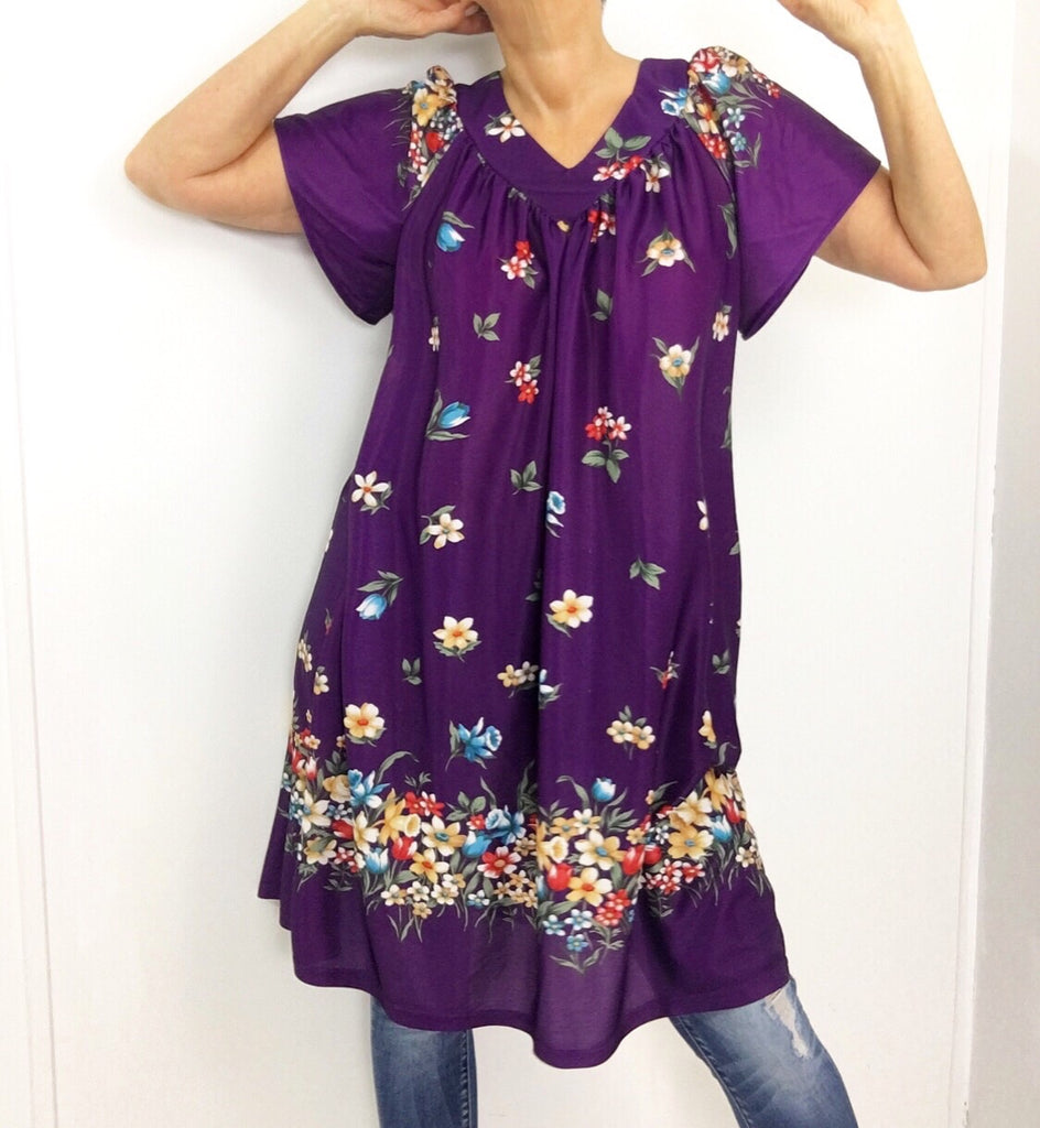 Vintage 70s Purple Floral Print House Dress Tunic Caftan Dress