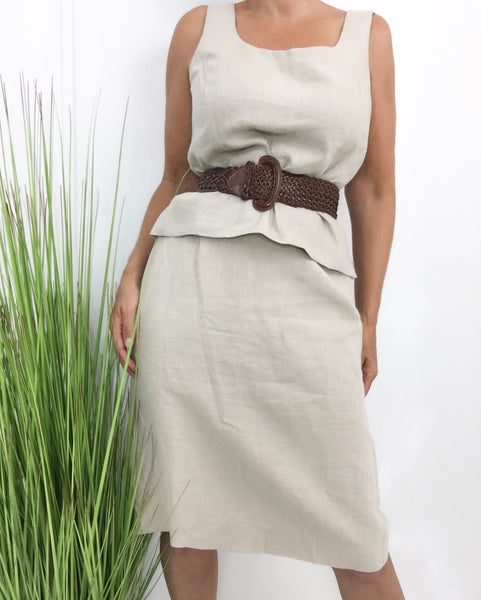 Vintage 100% Linen Creme Skirt Top Set