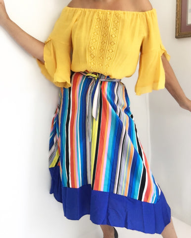 NWT Vertical Hankie Striped Skirt W/ Waist Ties