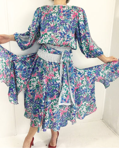 Vintage Diane Freis Floral Gypsy Dress W/Spectacular Deep Waterfall Back