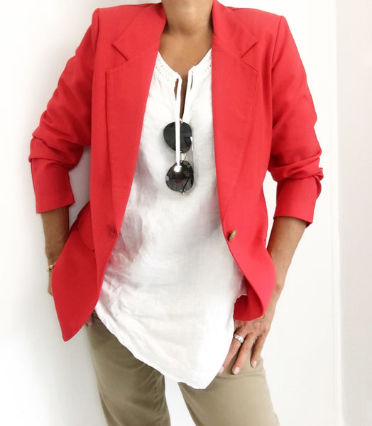 Vintage Strawberry Red Lightweight Blazer