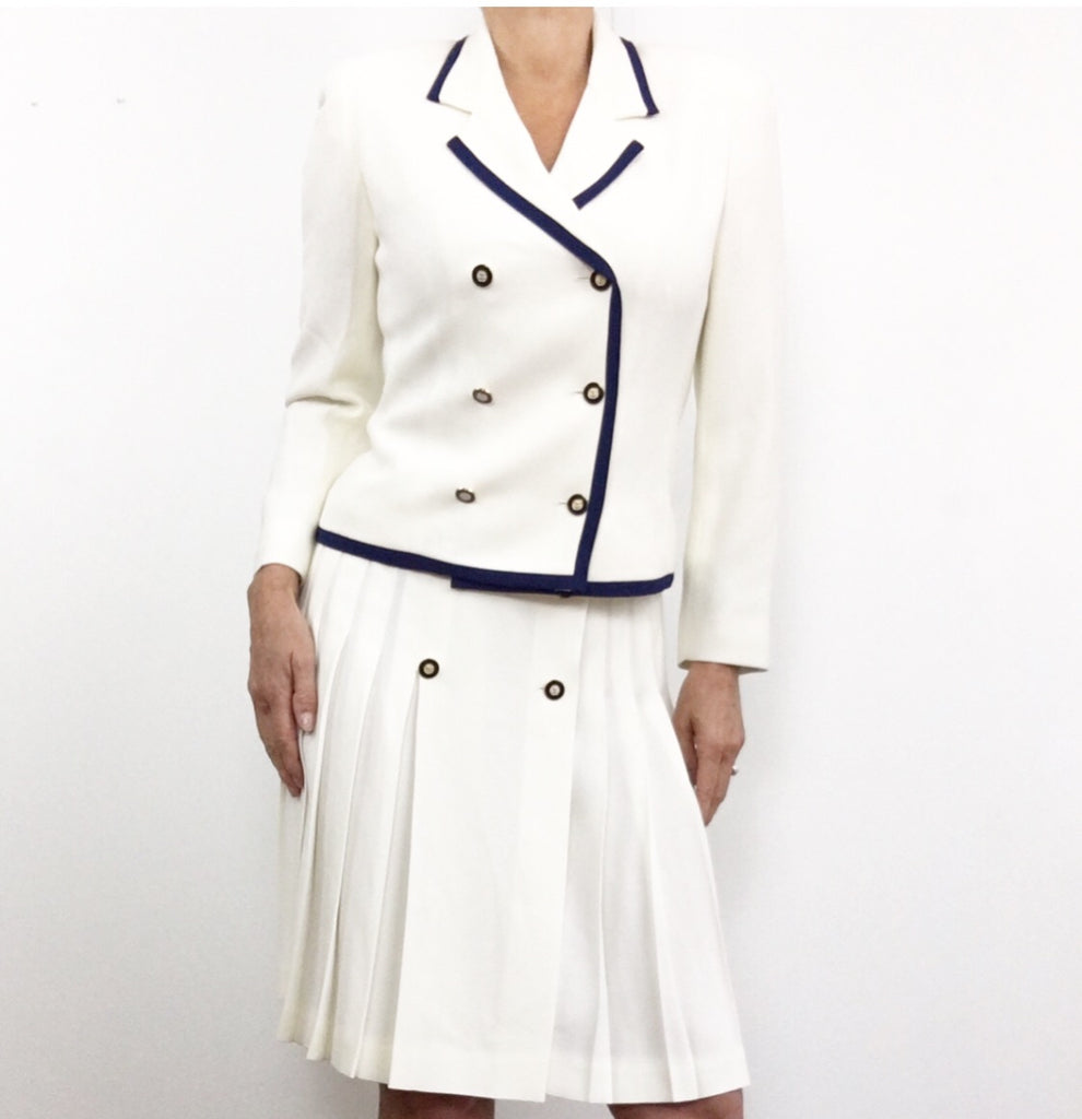 Vintage Nautical Blazer Pleated Skirt Suit
