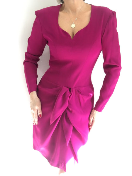 Vintage Iconic Guy Laroche Magenta Drape Dress Made in France