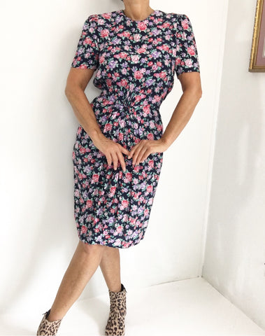 Vintage Floral Ruched Waist Button Down Dress