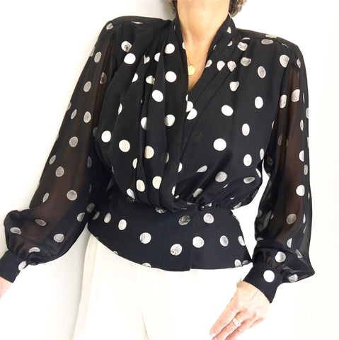 Vintage Lilli Ann Polka Dot Semi Sheer Evening Blouse