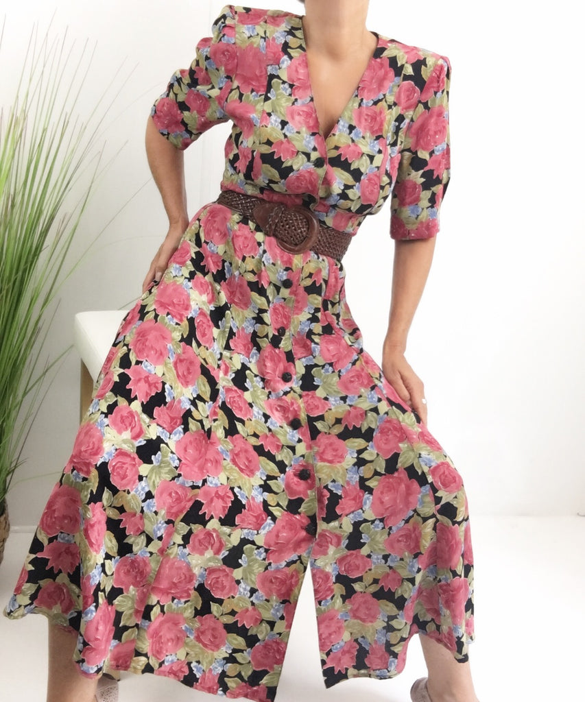 Vintage 90s Floral Button Up Maxi Dress