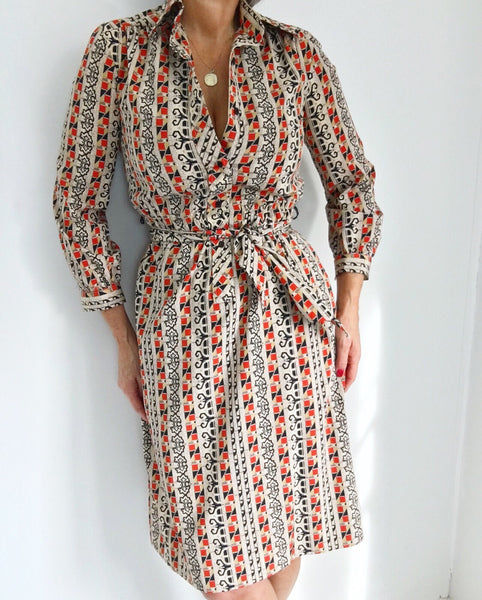 Vintage 1970's LANVIN Paris Boho Geometric Printed Silk Dress