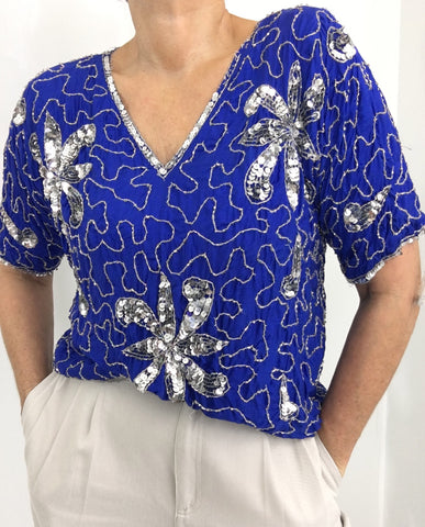 Vintage Royal Blue Silver Silk Sequined Top Blouse