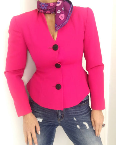Vintage 90s Hot Pink Short Cut Peplum Blazer