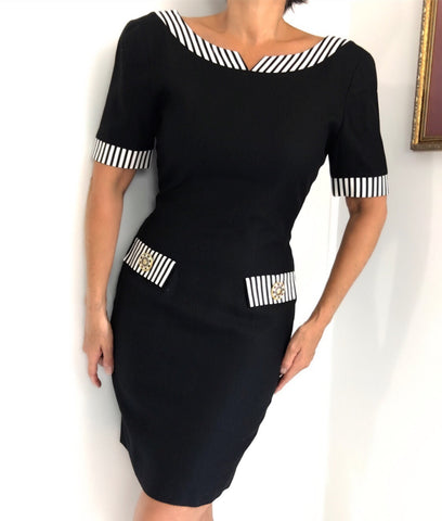 Vintage Boatneck Black & White Dress