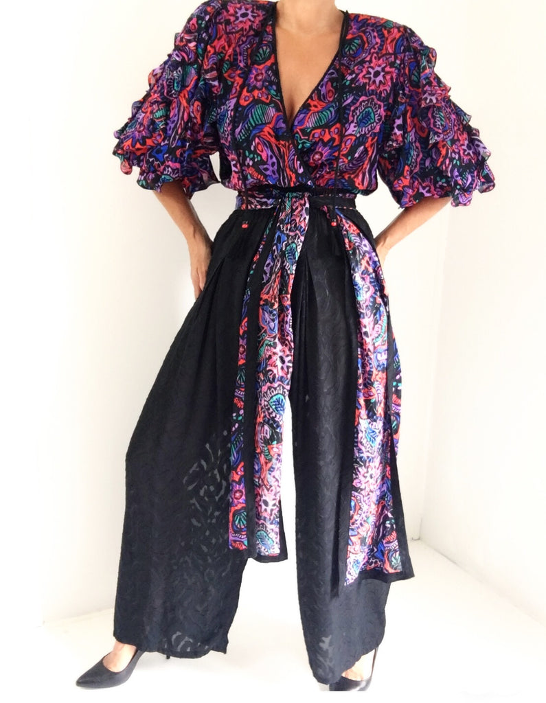 Vintage Diane Freis Abstract Print Bohemian Jumpsuit