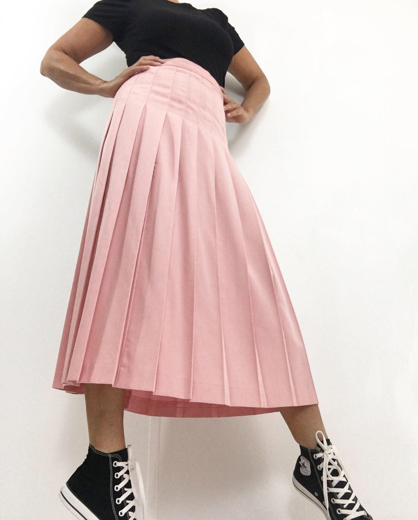 Vintage Dusty Rose Pleated Midi Skirt