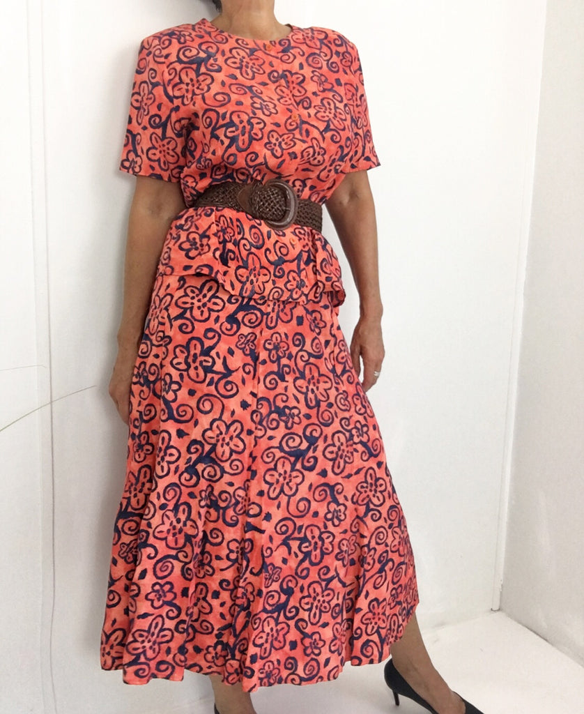 Vintage Salmon Abstract Print Volant Maxi Skirt W/Matching Blouse