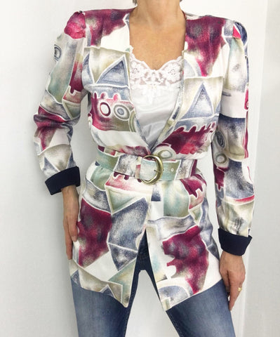 Vintage Relaxed Open Front Blazer W/ Matching Belt