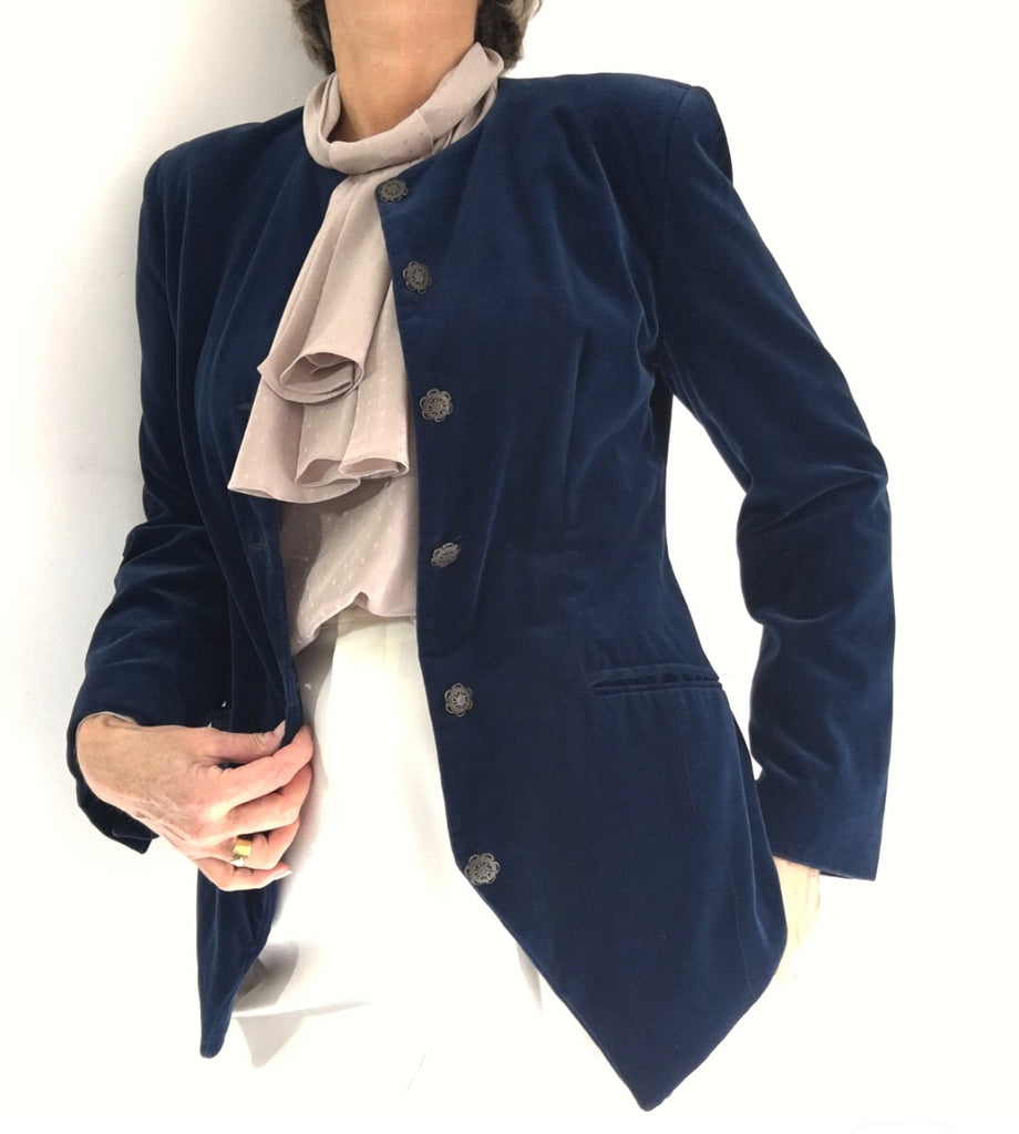 Vintage Midnight Blue Velvet Blazer Scotsman Style Made In Italy