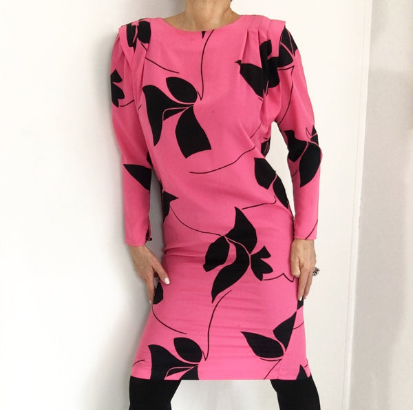 Vintage Hot Pink Shift Dress W/Black Print