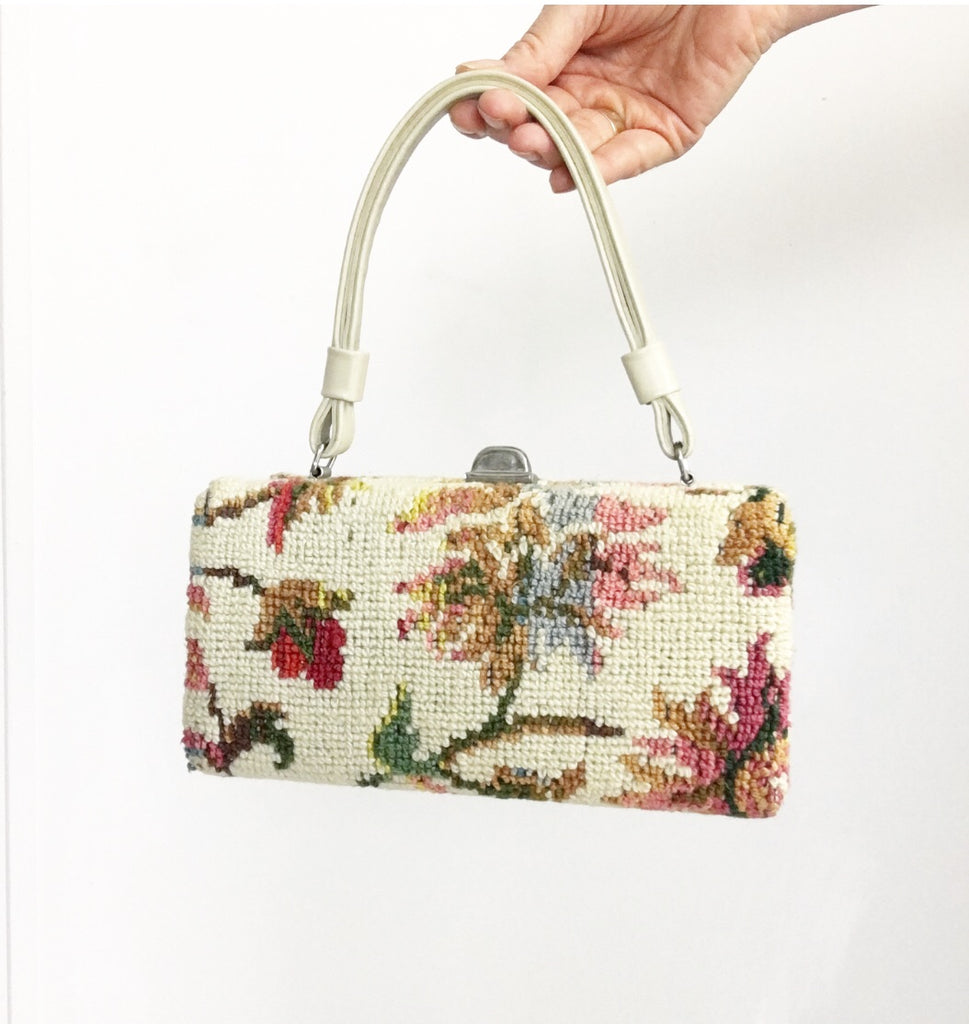 Vintage 50s Tapestry Box Purse