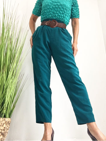 Vintage Teal High Waisted Minimalist Trousers