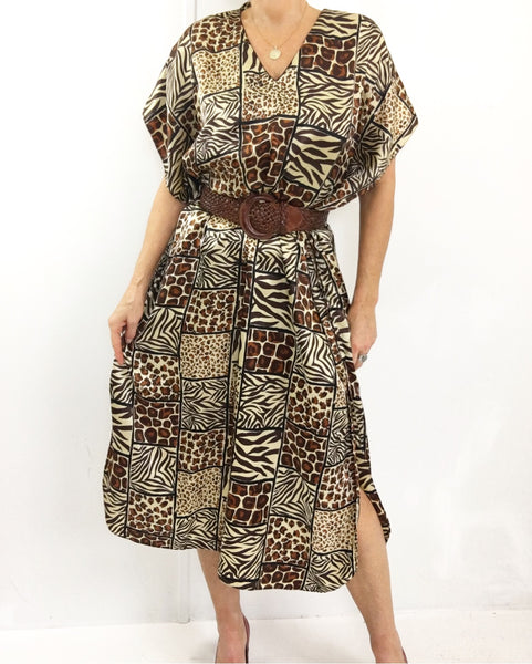 Vintage Ethnic Print Kaftan Robe Dress