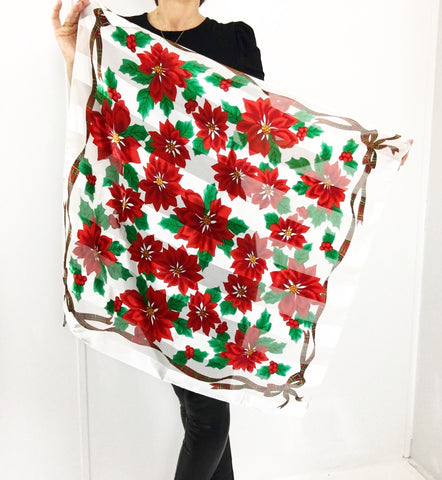 Vintage Elaine Gold Oversized Christmas Star Print Scarf