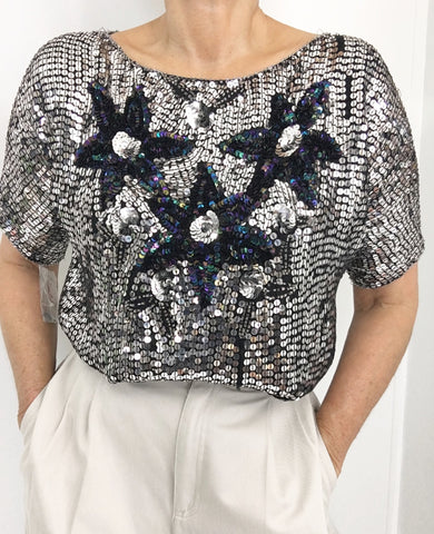 Vintage Silver Sequined Silk Blouse/Top